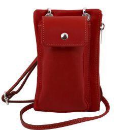 TL Bag Soft Leather cellphone holder mini cross bag Red TL141423