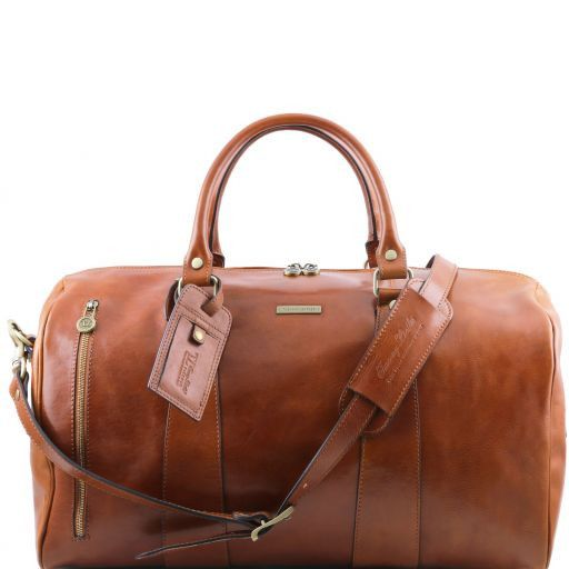 TL Voyager Travel leather duffle bag - Large size Honey TL141217