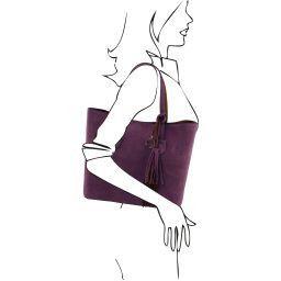 TL Bag Borsa shopper in pelle scamosciata Viola TL141639