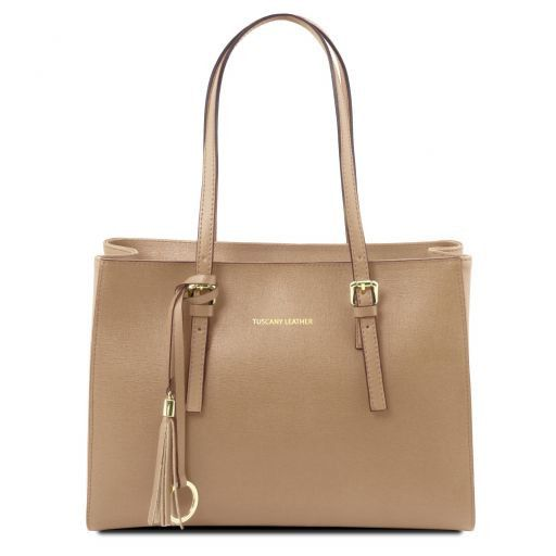TL Bag Saffiano leather handbag Caramel TL141518