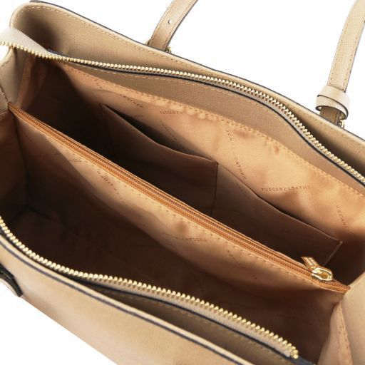 TL Bag Sac à main en cuir Saffiano Caramel TL141518