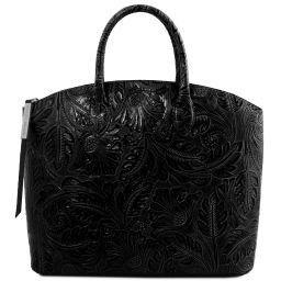 Gaia Borsa shopper in pelle stampa floreale Nero TL141670