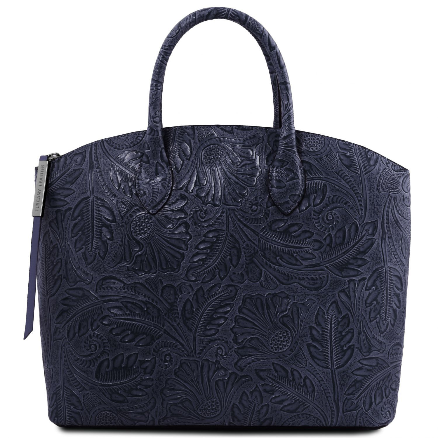 Borsa shopping in pelle stampa floreale Blu scuro