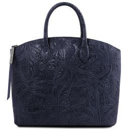 Gaia Leather tote with floral pattern Dark Blue TL141670