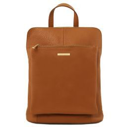 TL Bag Soft leather backpack for women Cognac TL141682