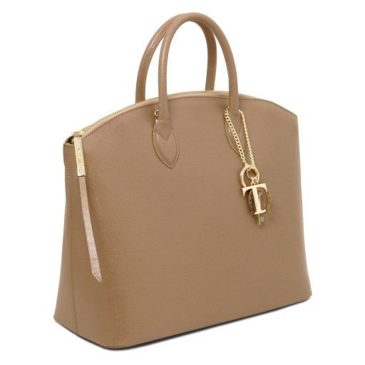 TL KeyLuck Bolso shopping en piel Saffiano Caramelo TL141261