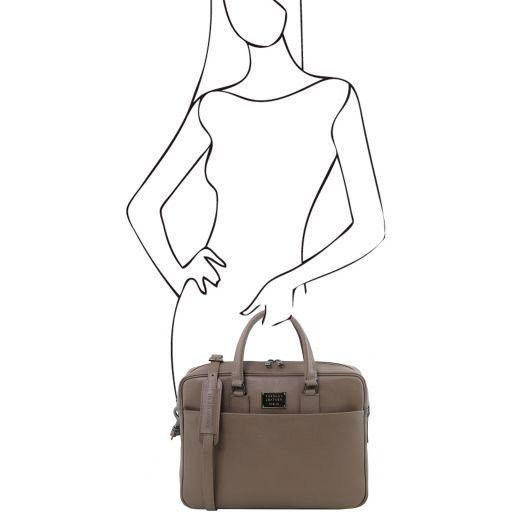 Urbino Cartella porta computer in pelle Saffiano con tasca frontale Talpa scuro TL141627