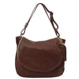 TL Bag Umhängetasche aus weichem Leder mit Quasten Dunkelbraun TL141110