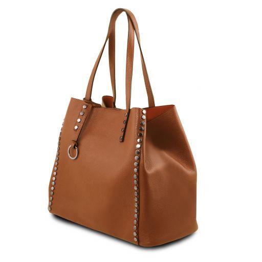 TL Bag Borsa shopping in pelle morbida Cognac TL141735