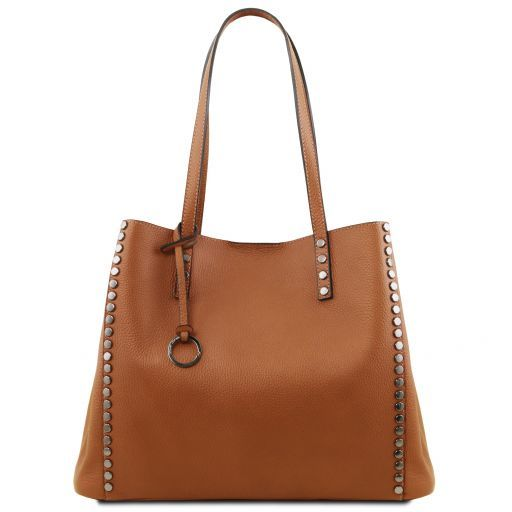 TL Bag Borsa shopping in pelle morbida Cognac TL141735