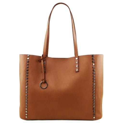 TL Bag Bolso shopping en piel morbida Cognac TL141735