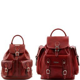 Trekker Travel set Leather backpacks Red TL90173
