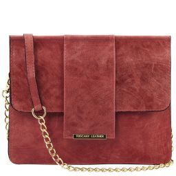 TL Bag Pochette in pelle con tracolla a catena Bordeaux TL141636