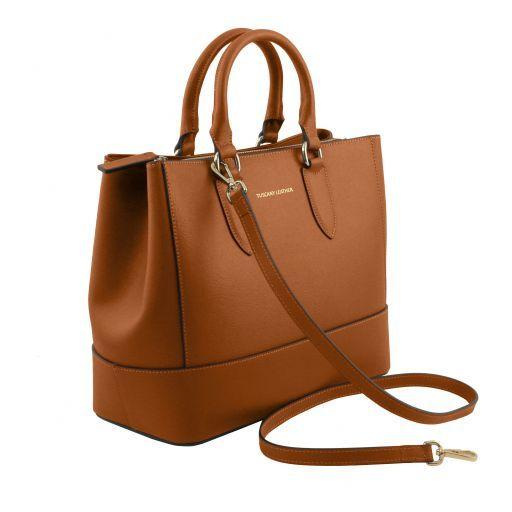 TL Bag Borsa a mano in pelle Saffiano Cognac TL141638