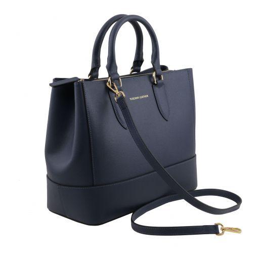TL Bag Borsa a mano in pelle Saffiano Blu scuro TL141638