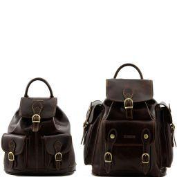 Trekker Travel set Leather backpacks Dark Brown TL90173