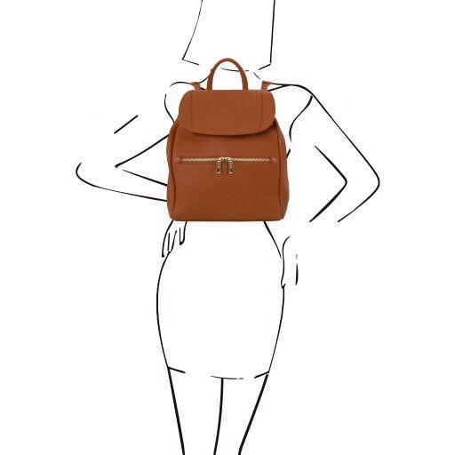 TL Bag Zaino donna in pelle morbida Cognac TL141697