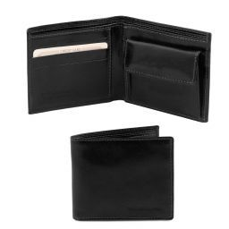 Exclusive 2 fold leather wallet for men with coin pocket Black TL140761