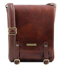 Roby Leather crossbody bag for men with front straps Brown TL141406