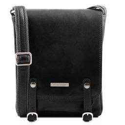 Roby Leather crossbody bag for men with front straps Black TL141406