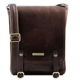 Roby Leather crossbody bag for men with front straps Dark Brown TL141406