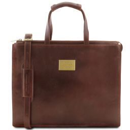 Palermo Leather briefcase 3 compartments for woman Коричневый TL141343