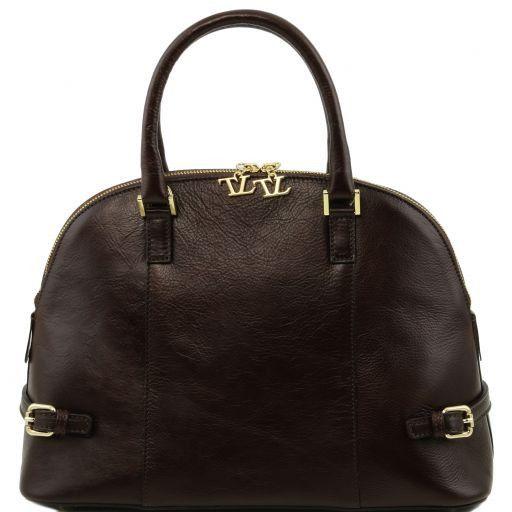 TL Bag Sac à main en cuir avec boucles Marron foncé TL141235
