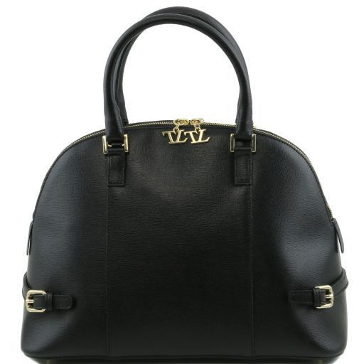 TL Bag Handtasche aus Saffiano Leder mit Schnallen Schwarz TL141236