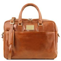 Urbino Leather laptop briefcase with front pocket Honey TL141241