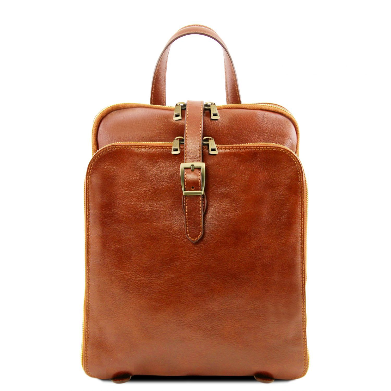 Zdjęcie 3 Compartments leather backpack Honey