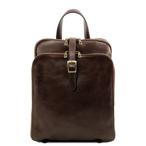 Genuine Leather Woman Backpack with 3 Compartments Color Dark Brown