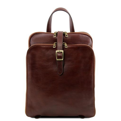Taipei 3 Compartments leather backpack Brown TL141239