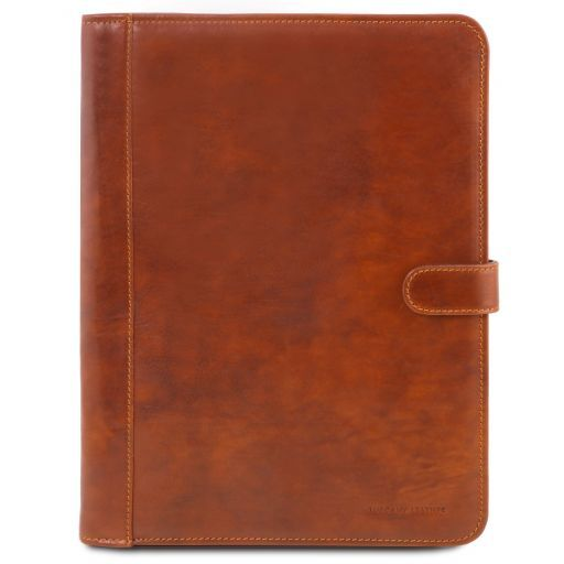 Adriano Leather document case with button closure Honey TL141275