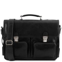 Ventimiglia Portafolios multiples compartimientos en piel TL SMART con bolsillos delanteros Negro TL141449