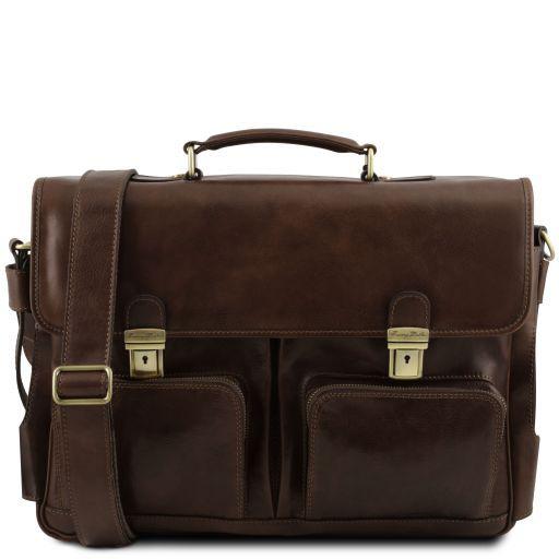Ventimiglia Leather multi compartment TL SMART briefcase with front pockets Темно-коричневый TL141449