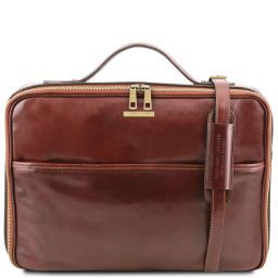 Vicenza Leather laptop briefcase with zip closure Brown TL141240