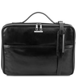 Vicenza Leather laptop briefcase with zip closure Black TL141240