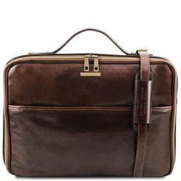 Vicenza Leather laptop briefcase with zip closure Темно-коричневый TL141240