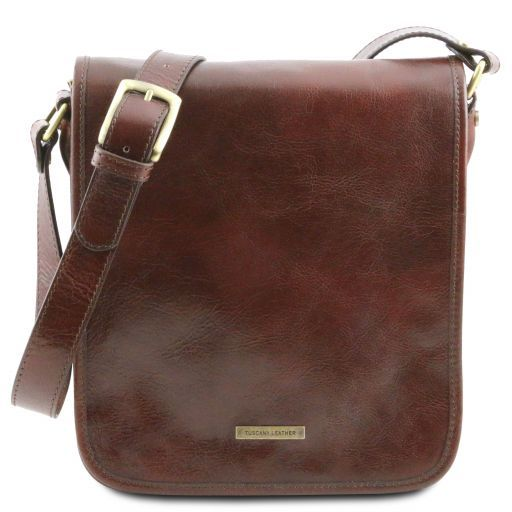 6016cc1981ae TL Messenger Two Compartments Leather Shoulder bag Brown TL141255