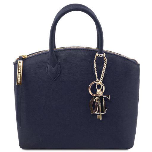 TL KeyLuck Saffiano leather tote - Small size Dark Blue TL141265