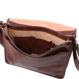 ... TL Messenger Two compartments leather shoulder bag - Large size Brown  TL141254 24e2d85b28ab6