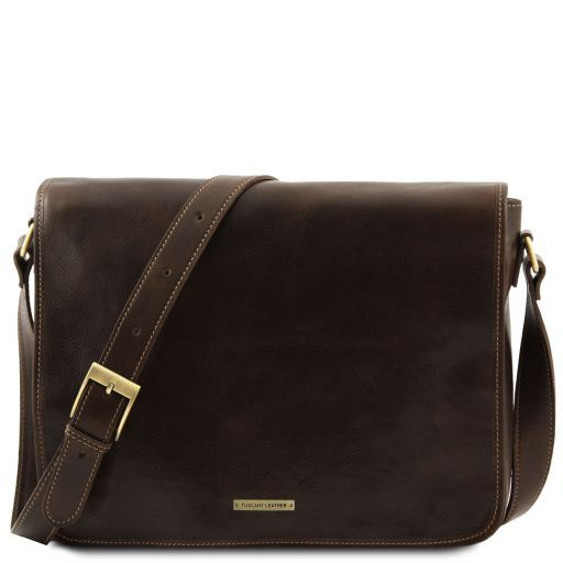 Messenger Double Freestyle Leather bag Dark Brown TL90475 b30ee14393638