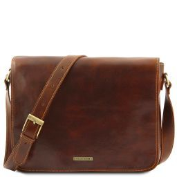 Messenger double Besace en cuir Marron TL90475