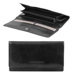 Exclusive leather accordion wallet for women Black TL140787