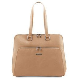 cd2701887b37 Lucca TL SMART business bag in soft leather for women Champagne TL141630 ...