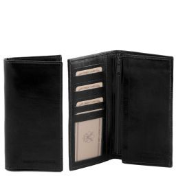 Exclusive vertical 2 fold leather wallet for men Black TL140777