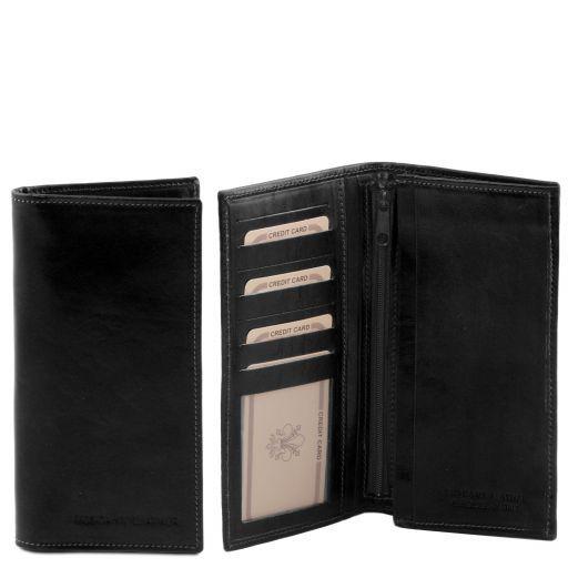 Elégant portefeuille vertical en cuir avec 2 volets Noir TL140777