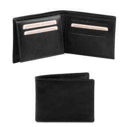 Exclusive 3 fold leather wallet for men Black TL140760