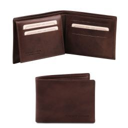 Exclusive leather 3 fold wallet for men Dark Brown TL140760