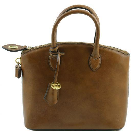 TL Bag Bolso de mano en piel - Misura pequeña Marrón topo oscuro TL141264